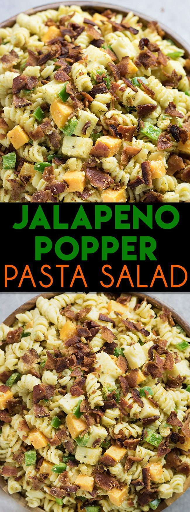 Jalapeno Popper Pasta Salad – This pasta salad tastes just like a jalapeno popper!  Plenty of rotini noodles covered in creamy jalapeno ranch, then loaded up with chopped jalapeno, crispy bacon, cheese, and croutons!
