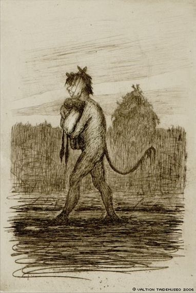 Artwork by Hugo Simberg, Poor Devil and the Twins, Made of Drypoint, etching and drypoint.  (1898)