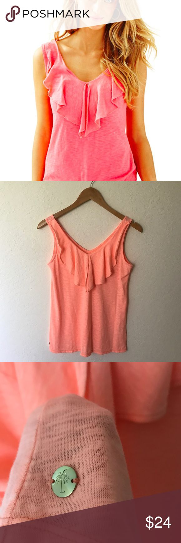 """Lilly Pulitzer Shari V-Neck Ruffle Tank Cantaloupe NWOT. Beautiful Cascading Ruffle down a v-neckline. Size is xxs but would also fit an xs. Approximate measurements when laid flat: 16"""" underarm to underarm, 25"""" length. *Note first photo is the same top in a similar color, but is not the color of the actual Tank Top for sale. The Shari Top is a V-neck tank with front flounce details & a back V-neck. This solid tank is a great alternative to a basic tank top, Metal Logo Plate…"""