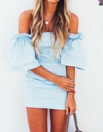 Blue off the shoulder dress.
