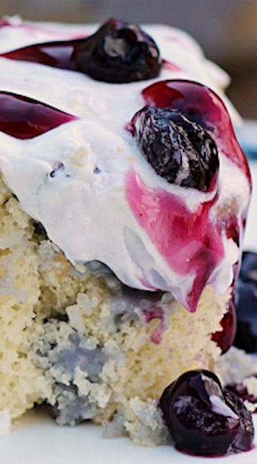 Blueberries and Cream Poke Cake Recipe   so moist and very delicious
