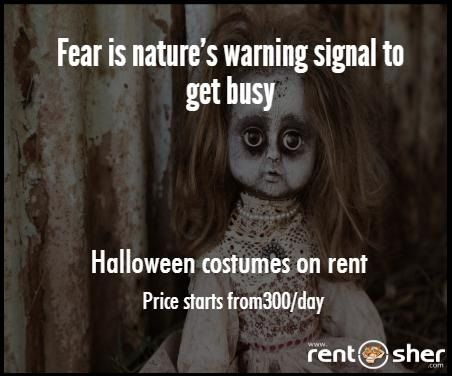 Let's create some fear on this #Halloween with wide variety of Halloween Costumes. Hire #Halloweencostumes from RentSher and Get it delivered to doorstep. visit for Bangalore - http://bit.ly/2e6aVUj  for Delhi - http://bit.ly/2dWvRAx for more details.