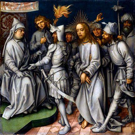 Christ before the High Priest from the Grey Passion by Holbein the Elder   #Catholic #sacredart   http://danielmitsui.tripod.com/blog2012/grey3.jpg