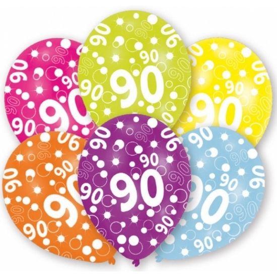Verschillende gekleurde ballonnen, 90 jaar. U kunt de ballonnen vullen met helium of lucht. Op te blazen formaat: 27,5 cm. Inhoud per zakje: 6 stuks.