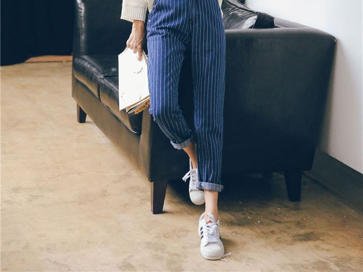 Buy Jolly Club Striped Tapered Jeans | YesStyle