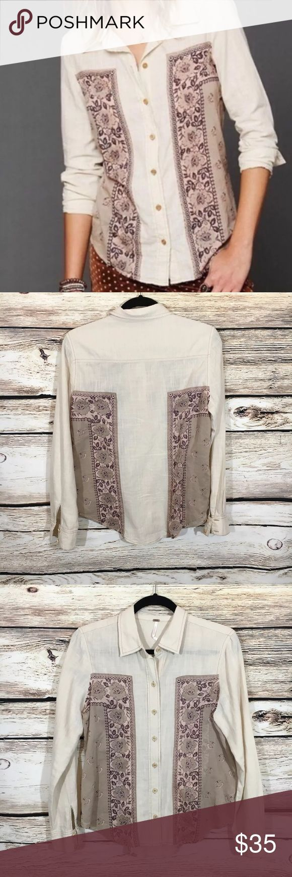 "Free People born free bandana print button down XS Free people born free button down top in off white with bandana printed design. Size XS, bust 40"", length 20"" in great condition Free People Tops Button Down Shirts"