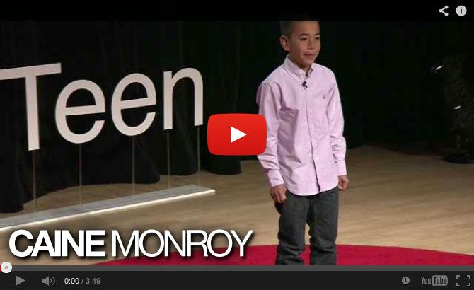 TEDxTeen 2013 :: WATCH Caine Monroy Outside the Box :: A used auto parts store in Los Angeles doesnt seem to be a likely place for a boy on summer vacation. It also doesnt seem like the ideal place to build a cardboard arcade, but one boy did. Caine Monroy was 9 years old when he created Caines Arcade. With a good amount of cardboard and...