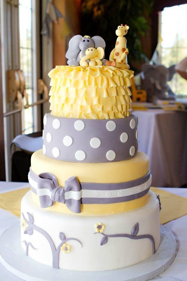 Grey yellow baby shower cake with fondant elephants and giraffe www.facebook.com/cakemeawaycakery