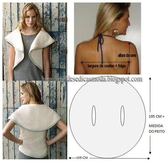 Modelagem de blusa- bolero em formato de círculo.