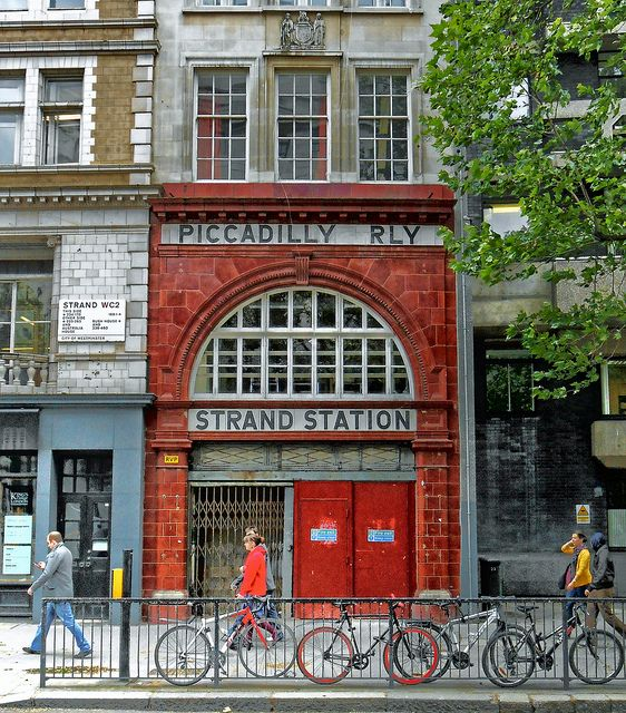 London, Strand Station.    A disused tube station on Fleet Street. Open from 1907-1994, it was known as Aldwych for most of that time.