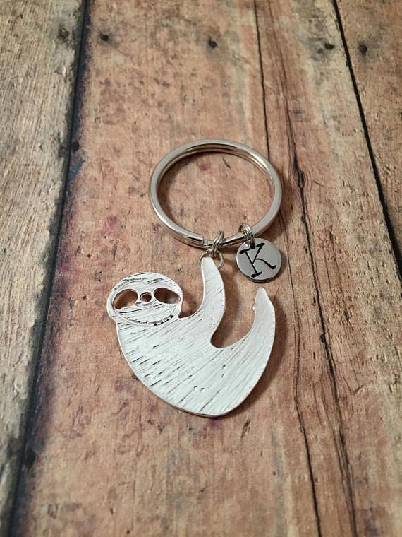 Sloth initial key ring  sloth key chain animal key ring