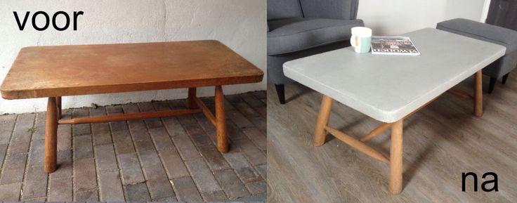 Salontafel met betonlookverf beschilderd en poten in grijze was gezet. Wilt u ook uw meubel in een nieuw jasje? Neem contact op met: Www.karinzandbelt.nl