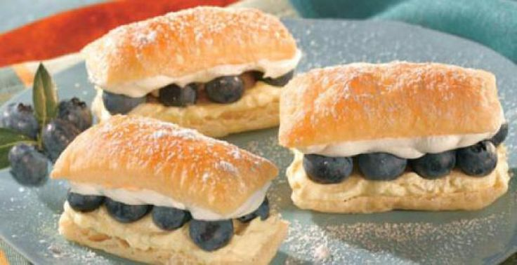 Cream Puffs With Lemon Mousse And Blueberry Sauce Recipe — Dishmaps
