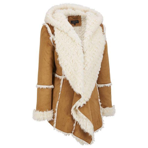 Womens Boho Shearling Fur Lined Brown Suede Coat Jacket - GoGetGlam  - 1