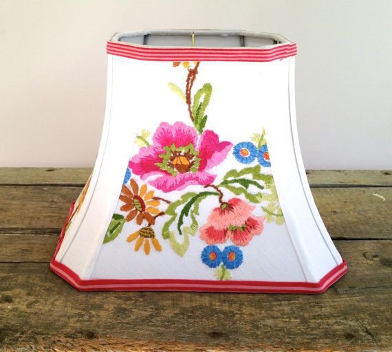 Rectangle Lamp Shade Embroidery Lampshade Pretty by lampshadelady