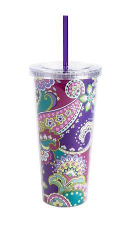 Vera Bradley/cup with straw/print-heather So cute!!! :) #MySuiteSetupSweepstakes
