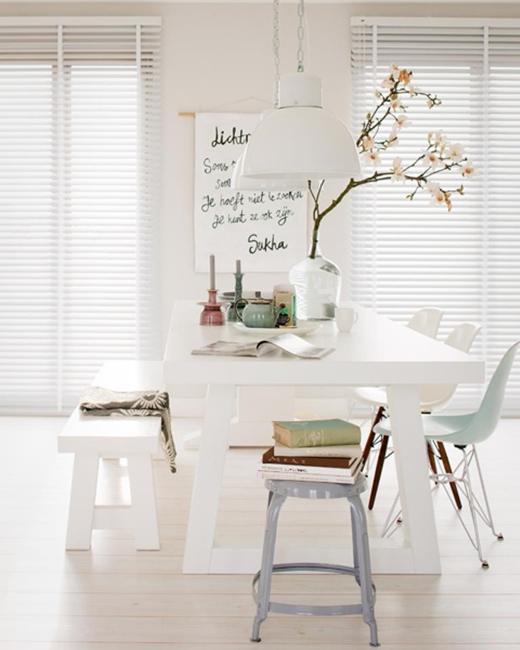 white kitchen table and seats