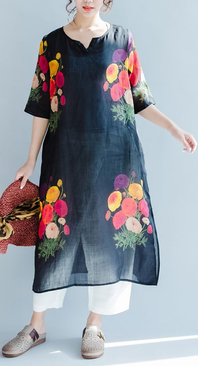 black print casual dress linen loose sundress short sleeve maxi dress side open