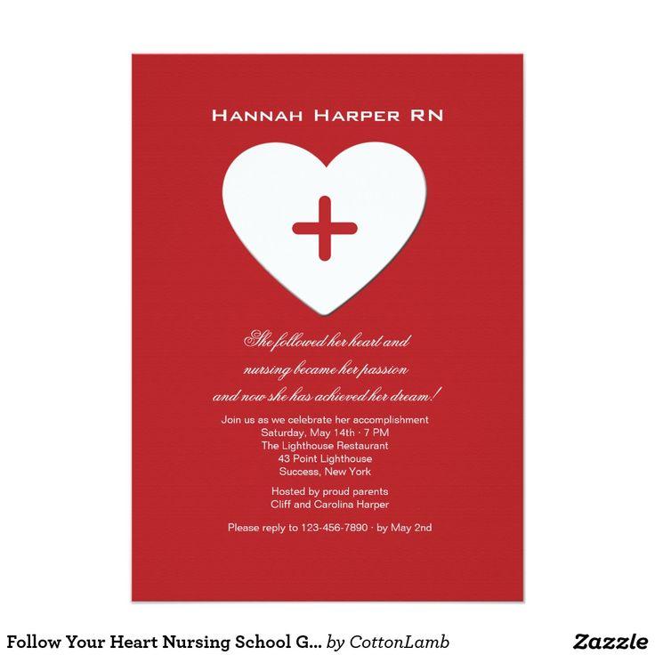 zazzle wedding invitations promo code%0A Follow Your Heart Nursing School Graduation Inv  Card