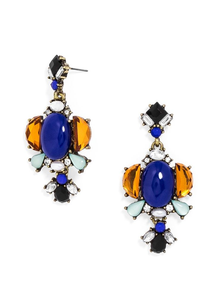 $32 http://www.baublebar.com/cobalt-constantinople-drops-earrings.html The ornate stone clusters in these statement earrings feature oversized blue cabochons, accented with amber, onyx and mint stones and touches of pearl.