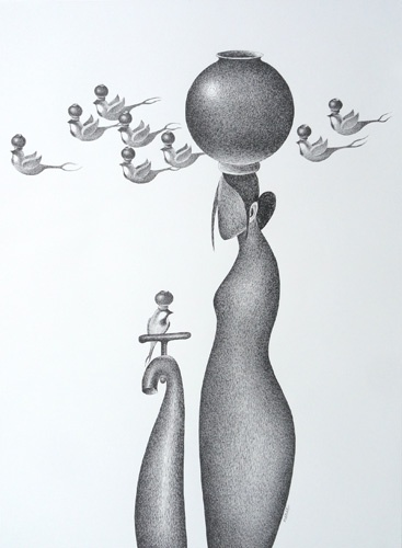 """""""Thirst"""" is the Solo Exhibition of Pen & Ink on Paper and Canvas Semi-abstract Paintings by Nuril Bhosale being held at gallery Pradarshak, Mumbai, India.  """"For a thirsty man, from the time that he spends finding water, till the moment when he sips the first drop of water, he experiences Life,"""" says artist Nuril Bhosale. """"Even after this, water may not be all that he thirsts for.  View the exhibition online at http://www.gallerypradarshak.com/2013/03/on-view-at-pradarshak-pen-ink-semi.html"""