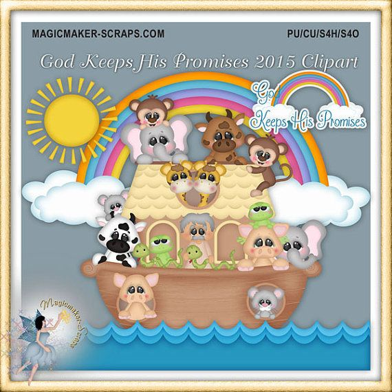 Noah's Ark Clipart Bible God Keeps His by MagicmakerScraps on Etsy
