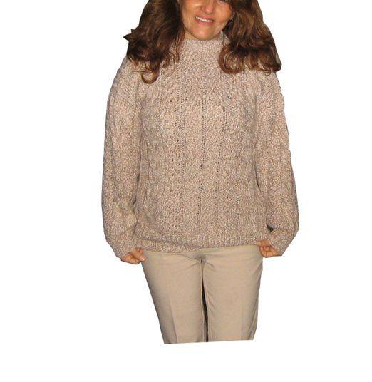 Damen #Pullover #Alpakawolle hellbraun Zopfmuster Rundhals Handgestrickt