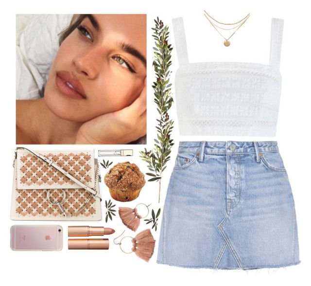 """""""soft"""" by s-ensible ❤ liked on Polyvore featuring Chloé, LC Lauren Conrad, Charlotte Tilbury, Zimmermann, GRLFRND, OKA and Clarins"""