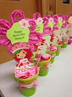 Strawberry Shortcake  Personalized Centerpiece All Handmade Designed by bumbeapartystop,com