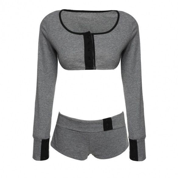 Fashion Sexy Women Sports Set Long Sleeve Crop Tops+Shorts