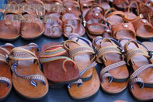 Traditional leather sandals for sale on the street stall , Chitre , Herrera Province , Panama stock photo