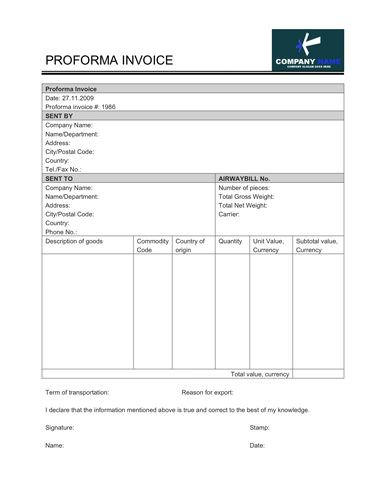 simple proforma invoice template with company info, description of, Invoice examples