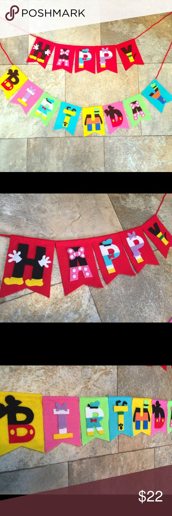 Mickey Mouse house club happy birthday banner Handmade Mickey Mouse club house happy birthday banner made by felt (not paper). I am happy to make customized banner with any colors or characters you like for birthday party decorations or nursery & kids room decor. Each banner is about 3 1/2 x 5 inch. Checkers my list to see more options! Price is firm except bundle! Bundle discount is 10 percent! Tag: Disney, Mickey, Minnie, Donald Duck, Daisy, Pluto, goofy, baby photo props, home decor…