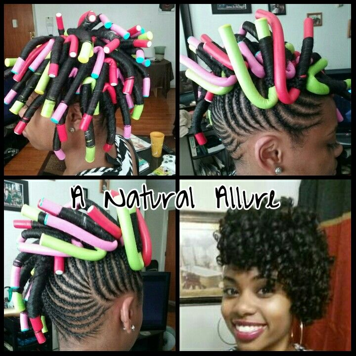Cornrow updo with flexi-rod curls. 100% natural hair style.  www.anaturalallure.com/