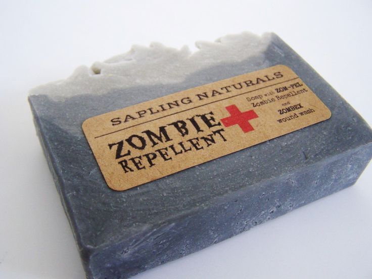 Zombie Repellent Soap - great gift for men, nerds, survivalists by saplingnaturals on Etsy https://www.etsy.com/listing/121297908/zombie-repellent-soap-great-gift-for-men