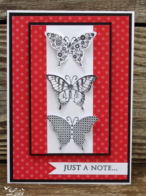handmade card ... column of die cut + stamped butterflies ... red & white with black accents ... lovely design ... Stampin' Up!