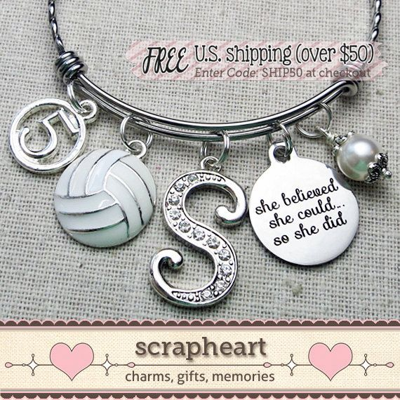 VOLLEYBALL Bracelet, SENIOR Gift, Custom Sports Bangle - by ScrapheartGifts