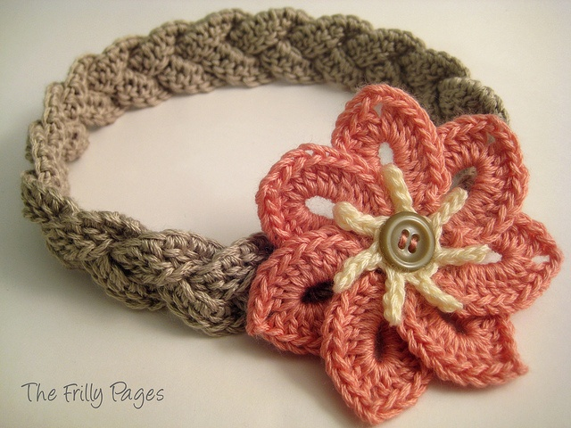 Flower fitflop Crochet   petal      Headband with singapore Braided