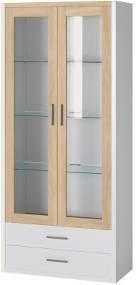 Oslo - Vitrína 2x dveře, police (dub sonoma/bílá