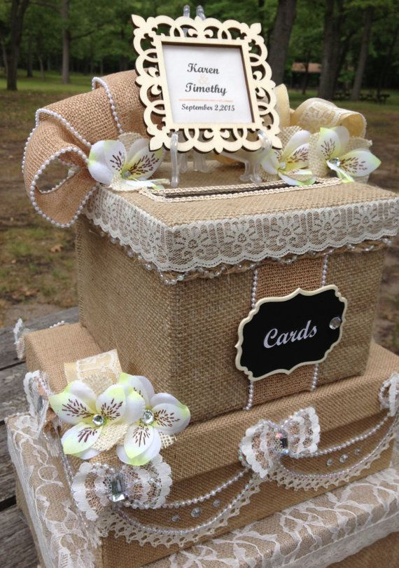 Burlap Wedding Card Box,Rustic Wedding Card Box,card Holder For Wedding,Card  Box With Slot,Rustic Wedding Invitation,victorian,money Holder