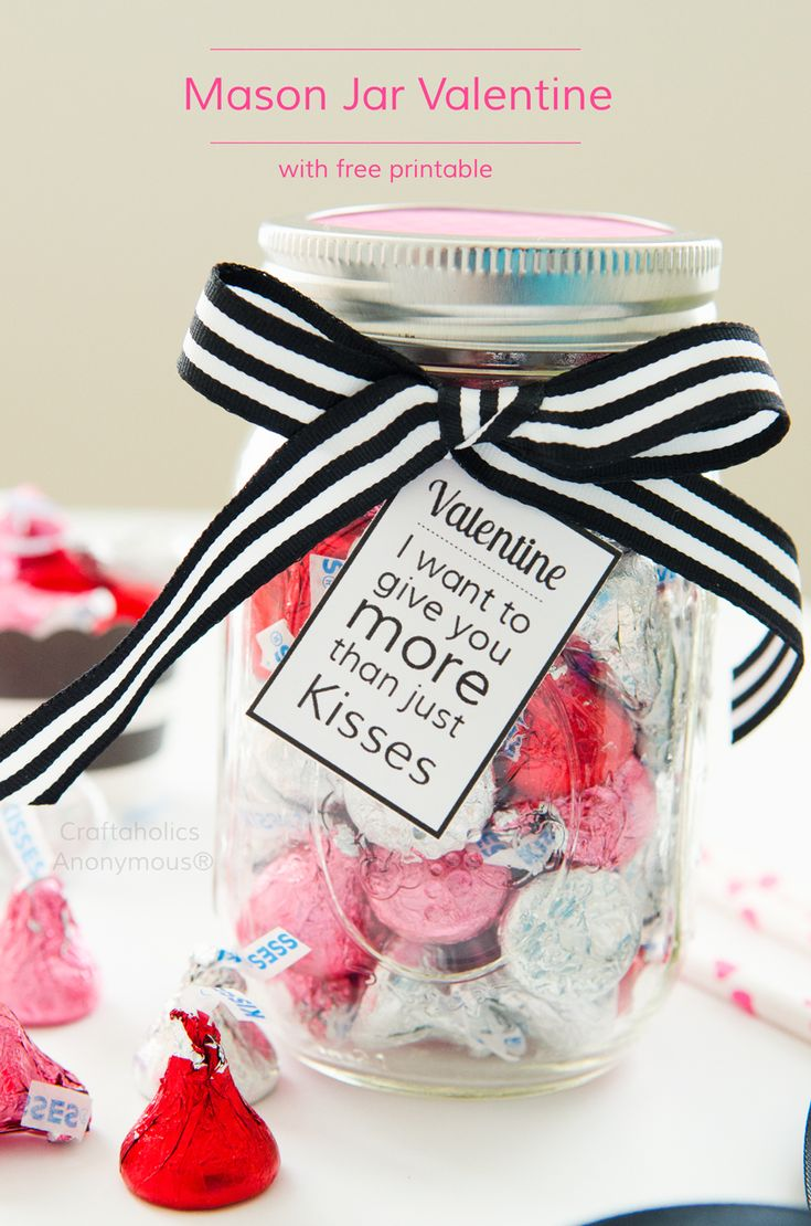 Valentine party ideas for church - Mason Jar Valentine With Free Printable