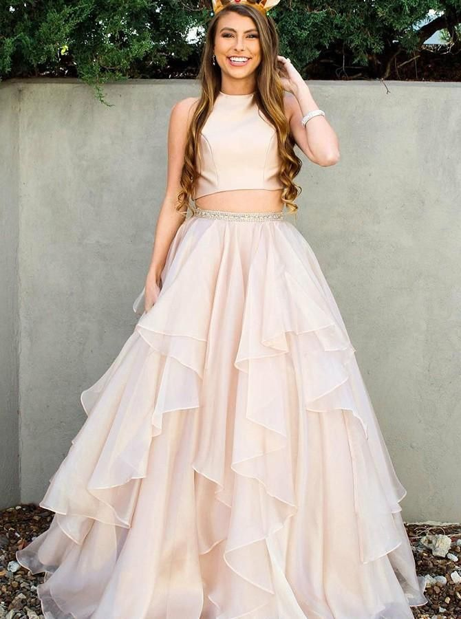 5ed470d98f9 Two Piece Champagne Prom Dresses Tulle With Beading Ruffles Evening Dress  Online