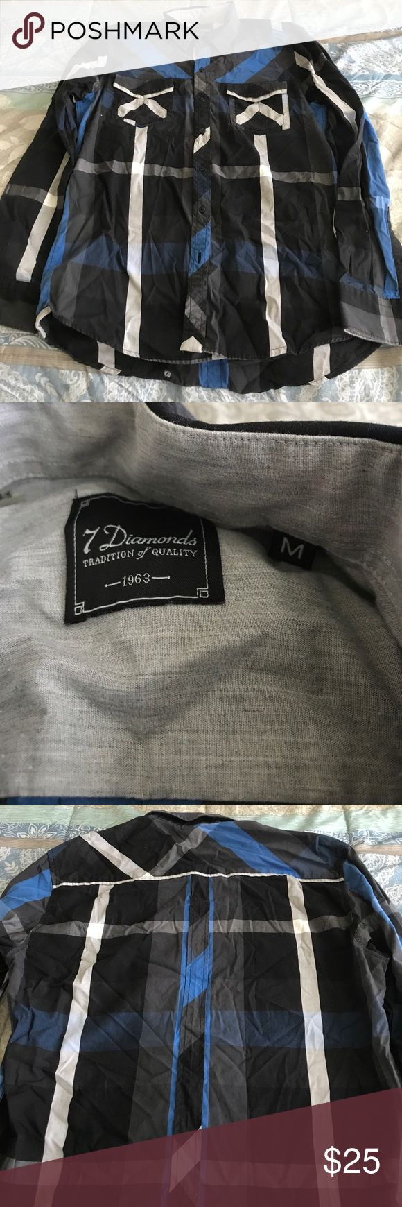 7 diamond button up Grey,blue and black. Only worn once 7 Diamonds Shirts Dress Shirts