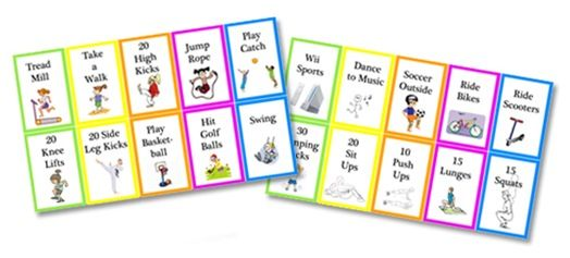 PE Activity cards for workboxes download -- great way to make sure they get activity, as a time filler between subjects, etc....