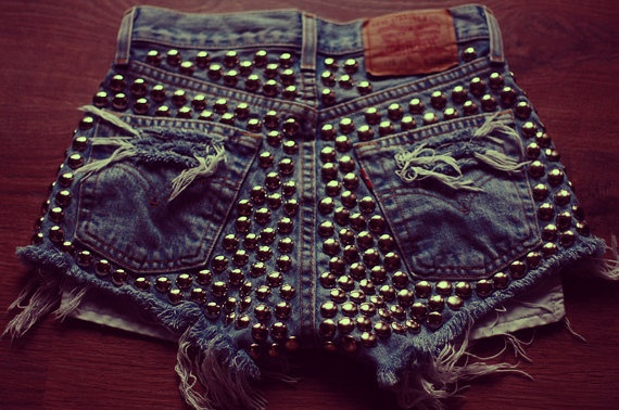 High waisted studded back denim shorts
