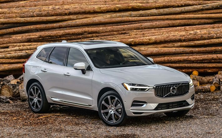 Download wallpapers 4k, Volvo XC60, 2018 cars, crossovers, T8, white XC60, Volvo