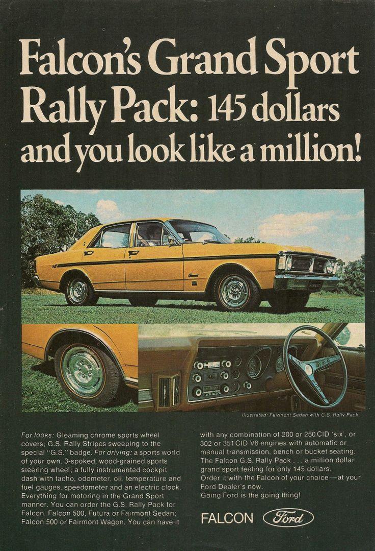 Original vintage 1971 ford falcon gs rally pack australian colour advert ebay