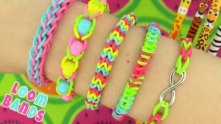 How to Make Loom Bands. 5 Easy Rainbow Loom Bracelet Designs without a Loom. I show how to make your own DIY rainbow loom with pencils and an eraser or an empty nail polish bottle. For loom bracelets you need bunch of rubber bands, c clip, charms and beads. Loom bands are so much fun!