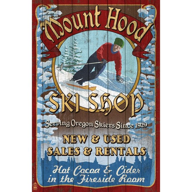 Mt Hood, OR - Ski Shop Vintage Sign - LP Artwork (Cotton/Polyester Chef's Apron), Blue wash