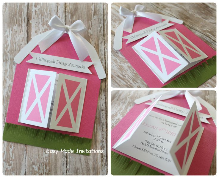 barn birthday invitations-pink